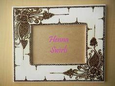 Henna Picture Frame - One of a Kind - Original - Henna Swirls- Modern Art. via Etsy.