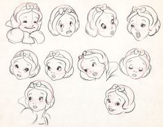 """Face study for Disney's """"Snow White and the Seven Dwarves."""" ★ 