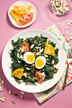Kale, miso, and soft egg salad