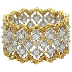 Buccellati Rombi Diamond Gold Band Ring, Buccellati Rombi 18k Gold 1.20ct Diamond Band Ring. Ring Size 7, 12mm Wide. Weight 6.4 grams