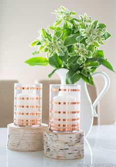 DIY Copper Striped Candle Holders