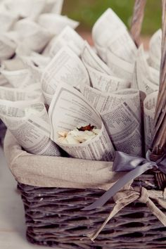 Vintage Romance Wedding Theme: confetti cones (made from a fairy tale book) filled with fresh & dried flower petals for confetti