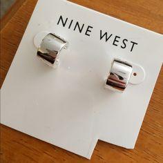 Nine West Silver Hoop Earrings Silver half-hoop earrings. Never worn! Nine West Jewelry Earrings