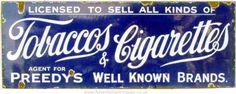 Preedy's Tobacco & Cigarettes Agent Sign