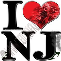 "Help make New Jersey greener. Up close ""I [heart] NJ"" actually reads ""I love ga-NJ-a"". http://www.cafepress.com/thenaughtynook/9992618"