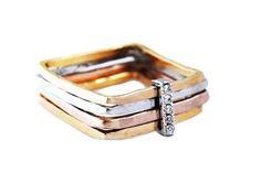 Firenze square ring - 18kt yellow, rose & white gold  with diamonds