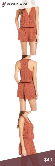 Hinge Wrap Front Romper Rust Fern NWT Cinched with an elasticized waist to define your figure, this wrap-front romper can be easily dressed up or down with a quick swap of accessories. - Pull-on style - Surplice V-neck - Sleeveless - Side-seam pockets - Elastic waist - 100% rayon Hinge Pants Jumpsuits & Rompers