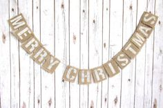 Merry Christmas Burlap Banner / Holiday Sign / by WootandWooks