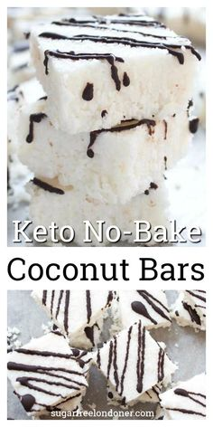 These soft, chewy coconut bars are healthy dessert heaven. NO-BAKE and made with only 5 ingredients, you'll never guess these decadent-tasting candy bars are low carb, Keto and sugar free! desserts No Bake Keto Coconut Bars Keto Desserts, Desserts Sains, Dessert Recipes, Dessert Healthy, No Carbs Dessert, 5 Ingredient Desserts, No Sugar Desserts, Recipes Dinner, Cheese Dessert