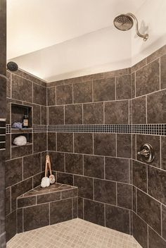 Take the relaxing aspect of the bathtub experience and incorporate it into your… Small Bathroom With Shower, Modern Bathroom, Small Bathrooms, Bathroom Ideas, Shower Bathroom, Luxury Bathrooms, Modern Shower, Bathroom Designs, Tile Bathrooms