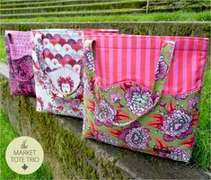 Market Tote Trio in Tula Pink& Elizabeth: FreeSpirit Fabrics Bag Patterns To Sew, Tote Pattern, Sewing Patterns, Wallet Pattern, Fabric Pen, Fabric Bags, Fabric Basket, Patchwork Bags, Quilted Bag