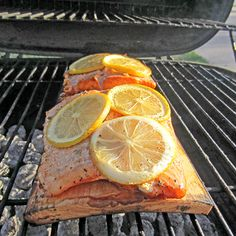 Plank Grilled Lemon Salmon
