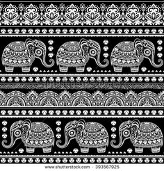 Vintage graphic vector Indian lotus cute ethnic elephant seamless pattern…