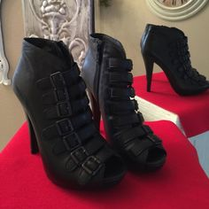 """Ash Multi-Buckle Peep-Toe Bootie Beautiful peep-toe Bootie with multi-buckles. They zip on the inside of Bootie. Worn once inside my home. 4"""" heel with a 1"""" platform. No box. They are very comfortable! Style is Glen from Neiman Marcus. Ash Shoes Ankle Boots & Booties"""