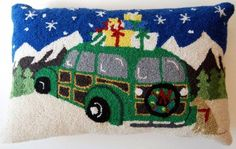 "Green Christmas Woodie Station Wagon Car Yellow Labrador Dog - 14"" x 22"" Wool Hooked Pillow - An Exclusive Design"