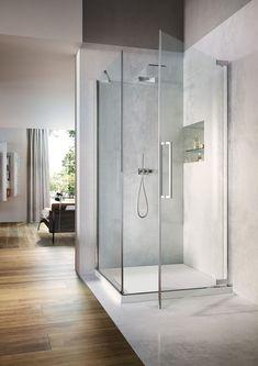 Flare: The new hinged door shower enclosure by - bathroom, bathroom ideas, shower, shower ideas, modern shower Interior Exterior, Interior Architecture, Interior Design, Casa Milano, Shower Cabin, Wall Hung Toilet, Pivot Doors, Transparent Design, Modern Baths