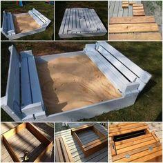 Sandkasten mit Klappe - Sitz / Bank und Abdeckung in einem