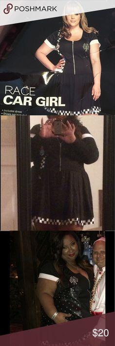 Torrid Race Car Halloween Costume Black skater dress with race car decals, good condition Torrid Dresses