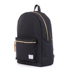 Black backpack with gold zippers - Herschel Supply Co. Black Canvas Settlement  Backpack Herschel Bag 4ae8bc1a6ba7d