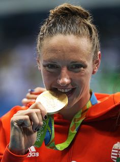 #RIO2016 - Best of Day 1 - Katinka Hosszu of Hungary poses with her Gold medal after winning the Women's 400m IM on Day 1 of the Rio 2016 Olympic Games at the Olympic Aquatics...