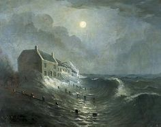 Half-Brick Inn, 1867, being battered by a storm is an oil on canvas by Edwin Compton, British, 1848-after 1900. Very little is known about the artist. This painting is in the Worthing Museum and Art Gallery, West Sussex, England. Image supplied by the Public Catalogue Foundation.