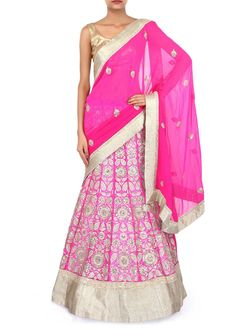 Pink lehenga saree adorn in gotta patch work embroidery only on Kalki