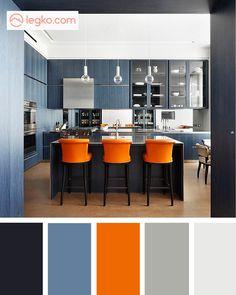 Цветовые сочетания: апельсиновый и пыльный синий в интерьере Kitchen Interior, Kitchen Design, Color Combinations For Clothes, Color Schemes Colour Palettes, Color Balance, Grey Cabinets, Kitchen Colors, Color Pallets, Room Decor Bedroom