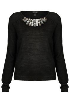 Knitted Jewel Neck Jumper - Topshop