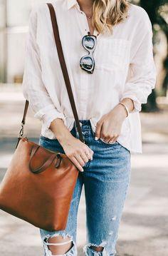 #fall #outfits women's white dress shirt