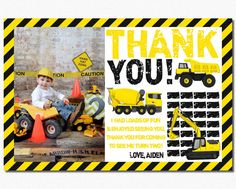 Construction Thank You Card  Personalized Thank You by PuggyPrints
