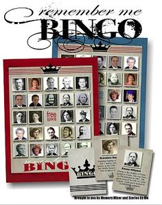 Stories by Me!: Remember Me Bingo. What a fun site! Fun for a Family Reunion too. What a great idea, Family Bingo Family Reunion Activities, Family Games, Family Reunions, Youth Activities, Group Games, History For Kids, Family History, Family Research, History Projects