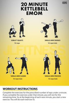 20 minute kettlebell emom with just 4 exercises Kettlebell Workout Routines, Kettlebell Hiit, Emom Workout, Hiit Workouts For Men, Kettlebell Challenge, Lifting Workouts, Kettlebell Training, Boxing Workout, Cardio