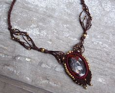 Brown macrame necklace with brass beads and jasper by stoneagetale, $80.00