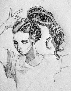 Octopus Hair Gal by Savmasterslam Tattoo Studio, Art Sketches, Art Drawings, Octopus Art, Octopus Tentacles, Desenho Tattoo, Painting Quotes, Arte Horror, Illustration