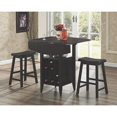 Coaster 3-Piece Bar Table Set with Wine Rack Storage, Espresso