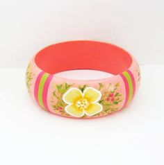 Hand Painted Wooden Bangle Bracelet  by paintingfromtheheart, $16.00