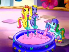 #891916 - animated, bucket, coconut cream, context is for the weak, daisyjo, daisy jo, g3, gem blossom, helmet, paint, pink, pogo stick, pool, positively pink, roller skates, safe, screencap - Derpibooru - My Little Pony: Friendship is Magic Imageboard