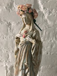 Madonna figure painted white aged patina/ Mary Statue / French Decor /Religious Statue / Home Decor /Religious / figure handmade / vintyge/ Catholic Art, Religious Art, French Decor, French Country Decorating, Madonna, Trinidad, Prayer Corner, Virgin Mary Statue, Home Altar