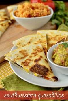 Southwestern Quesadillas are fresh and fast. Great for a quick weeknight lunch or dinner, or yummy party appetizer! Mexican Food Recipes, Vegetarian Recipes, Cooking Recipes, Great Recipes, Dinner Recipes, Favorite Recipes, Yummy Recipes, Quesadilla Recipes, Love Food