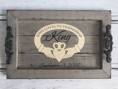 Personalized Decorative Serving Tray- Irish Claddagh with Family Name by…
