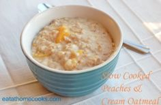 peaches and cream slow cooker oatmeal done