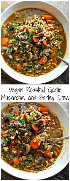 Vegan Roasted Garlic Mushroom and Barley Stew These rice krispie treat pumpkins . - Vegan Roasted Garlic Mushroom and Barley Stew These rice krispie treat pumpkins are ADORABLE and th - Fall Recipes, Soup Recipes, Vegetarian Recipes, Healthy Recipes, Beef Recipes, Dinner Recipes, Vegetarian Cooking, Vegetarian Stew, Chicken Recipes