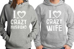 I Love My Crazy Wife   My Crazy Husband Matching Couple Valentine's Gift Hoodie * This is an Amazon Affiliate link. Click image for more details.