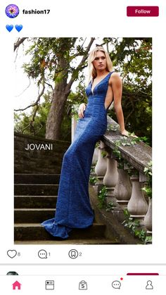 3be8f7daebe Jovani 45811 Navy long sleeveless jersey fitted dress with plunging neckline .