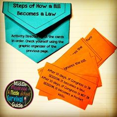 """""""How a Bill Becomes a Law"""" Interactive Notebook of foldables, a close reading excerpt, graphic organizers, and flipped classroom assignments."""