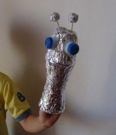 Yogurt pot alien puppet.
