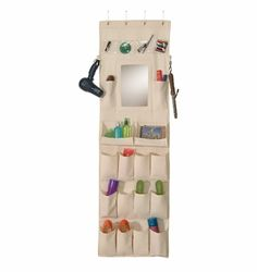 Canvas Organizer with Mirror is an ideal high school graduation gift. Perfect and necessary dorm room supplies product that will keep you organized when things get crazy at college. A great college dorm product for any college student living on campus. College Dorm Door, College Dorm Organization, Bathroom Organization, Organization Ideas, Storage Ideas, Bathroom Ideas, Bathroom Storage, Door Storage, Organized Bathroom