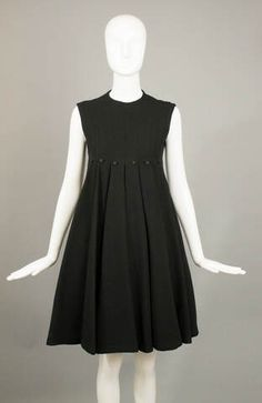 black wool crepe button studded swing dress beene
