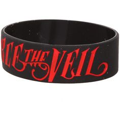 Pierce The Veil Logo Rubber Bracelet | Hot Topic ($4.49) ❤ liked on Polyvore featuring jewelry, bracelets, 27. bracelets & watches., accessories and jewelry, band merch, black jewelry, red black jewelry, rubber bangles, bracelet bangle and rubber jewelry