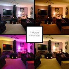 Here is how different one room looks at the press of a button | #HUE #lighting